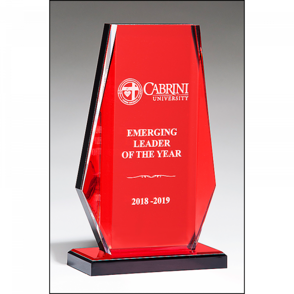 Clear Acrylic Award Red Mirror Background